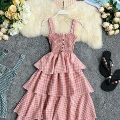 Buy Lucuna Plaid Tiered Spaghetti Strap Dress   YesStyle Kpop Fashion Outfits, Cute Fashion, Fashion Dresses, Dressy Outfits, Chic Outfits, Girl Outfits, Simple Dresses, Pretty Dresses, Vintage Street Fashion