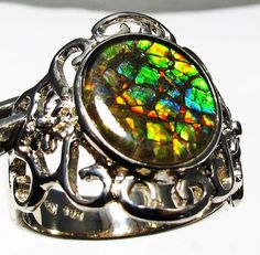 5.5 RING SIZE BRIGHT CANADIAN AMMOLITE SILVER RING [SJ4199] NATURAL CANADIAN AMMOLITE GEMSTONE RING FROM GEMROCKAUCTIONS.COM