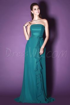 Dresswe.com SUPPLIES Pretty Flower Draped A-line Floor-length Strapless Sandra's Bridesmaids Dress Bridesmaid Dresses 2014