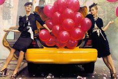"""It's a Madcap World"" with Anna Maria Jagodzinska, Viktoriya Sasonkina, Jourdan Dunn, #American #model Karlie Kloss, Liya Kebede, & #Russian #model Natasha Poly by Steven Meisel for #VogueUS #February2009"