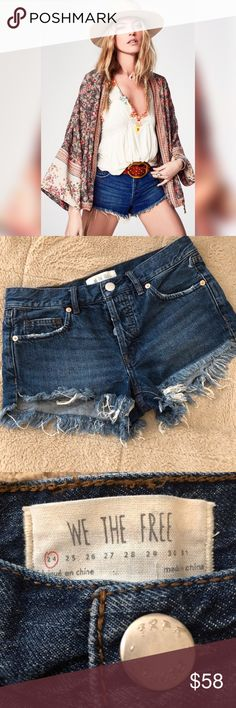 NWOT {Free People} Denim Cut Off Frayed Shorts!☀️ NWOT Free People Distressed frayed denim cut off shorts! Size 24 (0)! Beautiful classic blue denim with very light acid washed front style! Distressed detail on front & back pockets as seen in pics! 4 Button front closure with just top button visible! Triangle cuts on bottom of hips! Measures at a 15 inch waist, 8.5 inch front rise from bottom to top, 10.5 inch back rise from bottom to top, 17 inch from hip to hip! Sold out in stores…