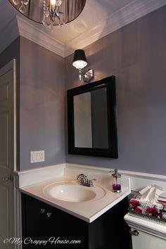 Bathroom decor on pinterest vanilla tea bathroom and tile for Deep purple bathroom ideas