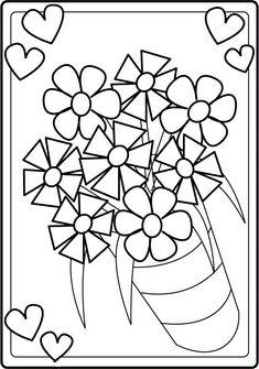 kleurplaat vaas met bloemen lente vaas