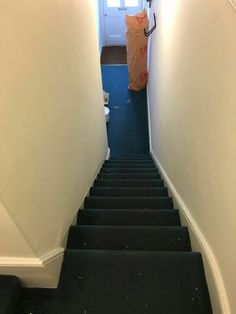Old blue carpet on stairs