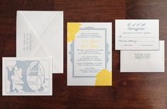 Custom Letterpress Wedding Invitation Yellow Blooms by LoTidePress