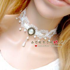 Кружева Choker ожерелье женщин корейской ключицы даже белый жемчуг ожерелье Harajuku DIY ручной работы XL077- Taobao