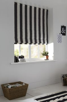 Black and white, monochrome striped home office Roman blinds with fabric from Romo made by the Apollo Blinds You Choose! service.