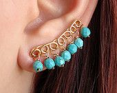 Ear pins, pair of 24K gold plated - solid sterling silver ear pins, hypo allergenic earrings with turquoise howlite stones,up the ear sweeps