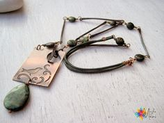 Bird necklace, copper, etching, leather,