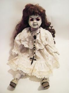 Creepy Sitting evil doll with rosary gothic horror porcelain repaint custom art