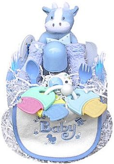 This colorful and fun boy-themed Diaper Cake is sure to charm the lucky gift recipient! Present one as a baby shower gift, or use it as a creative shower centerpiece. Every item in the Diaper Cake is Baby Shower Diapers, Baby Shower Favors, Baby Shower Cakes, Shower Party, Baby Shower Parties, Baby Boy Shower, Baby Shower Gifts, Baby Gifts, Newborn Gifts