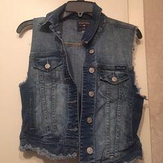 Sleeveless Jean jacket Sleeveless Jean jacket/vest. Size medium. Just USA Jackets & Coats Vests