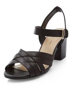 6dc6bd5a1b9 Wide Fit Black Leather Cross Strap Block Heel Sandals