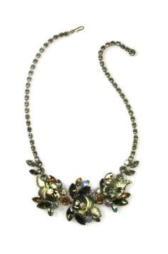 Edlee Rhinestone Flower Motif Necklace 1950s, $365