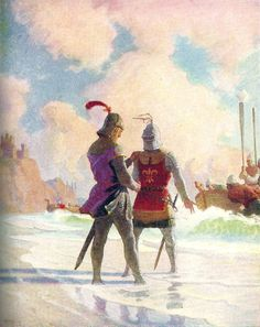 "Bruce on the beach: ""The Scottish Chiefs"" by Jane Porter / Illustrated by N.C. Wyeth  (Scribner, 1941)"