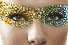 Gorgeous yellow to blue gradient make-up mask of crystals  by MUA Paul Innis.