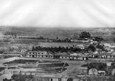 Earliest known photo of Los Angeles, circa 1862. The view looks east over the Los Angeles Plaza from atop Fort Moore Hill.