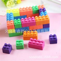 Cute Building Bricks Erasers Novelty Fun Kids Rubbers For Lego Fans Party Gift Bag Fillers