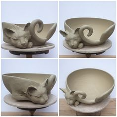 "passionfyrecrafts:earthwoolfire:  12""unfired white earthenware custom Cat yarn bowl. Custom orders via earthwoolfire.etsy.com  Oh that's beautiful :o"