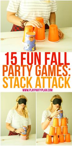 15 fun fall party games that are perfect for every age - for kids, for adults, for teens, or even for kindergarten age kids! Tons of great minute to win it style games you could play at home, in the c (Minutes To Win It Games For Kids) Fall Party Games, Fall Games, Halloween Party Games, Christmas Party Games, Birthday Party Games, Halloween Games For Adults, Party Games For Adults, Indoor Games For Adults, Holiday Games