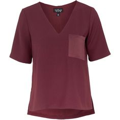 TOPSHOP TALL V Neck Pocket Tee ($60) ❤ liked on Polyvore featuring tops, t-shirts, berry red, purple crop top, purple t shirt, pocket t shirts, tall v neck t shirts and v neck tee