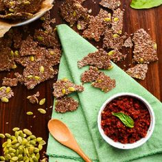 Crunchy Flax + Pepita Crackers with Sundried Tomato Spread | Vegan + Gluten-Free