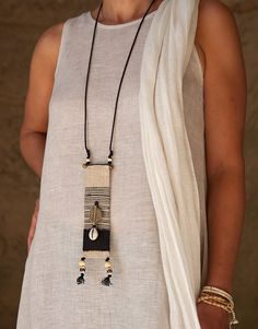 Ethnic textile jewelry with african beads -:- AMALTHEE -:- n° 3382