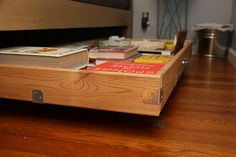 underbed storage drawers from old pine bed frame