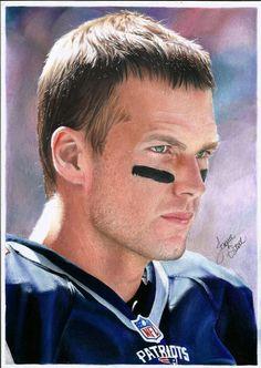 Desenho realista do Tom Brady, jogador de futebol americano do time New England Patriots. YouTube: Jaque Vital