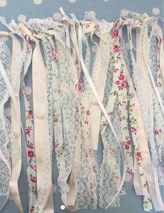 Shabby chic boho rag tie garland in my shop today