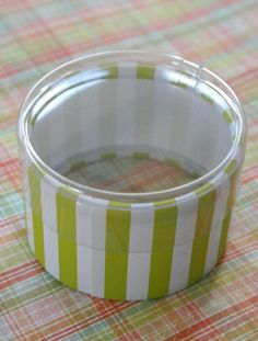 One Dozen Favor or Storage Boxes with Clear Lids and Bottoms - Plastic - Lime Green Striped