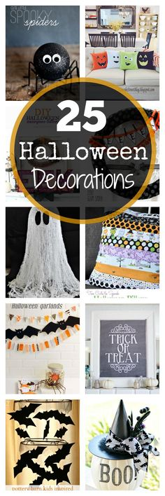 25 Fun Halloween decorations. Free Printables, crafts, banners and more. Tons of cute home decor ideas for this Halloween.