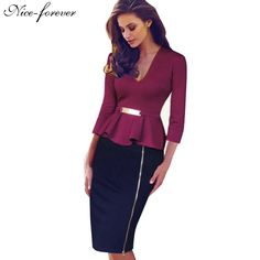 Cheap dress hook, Buy Quality dress usa directly from China dress hats for women Suppliers: Nice-forever Casual Elegant Work Peplum Vintage dress Stylish Office Lady Patchwork Full Sleeve Ruffle Pencil Dress Vestidos Vintage, Vintage Dresses, Stylish Dresses, Dresses For Work, Formal Dresses, Office Dresses, Stylish Clothes, Dress Outfits, Fashion Outfits