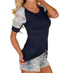7e3bcbcc615 Oksale Womens Summer Lace Stitching T-Shirt Tee Short Sleeve at Amazon  Women s Clothing store