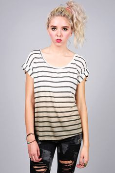 Shore Sail Tee | Ombre Tops at Pink Ice #shirts #tops #summer #stripes #ombre #buttondown