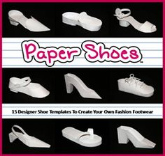 Awe--some! Templates to make paper shoes. Paper Shoes, Paper Purse, Paper Cards, Diy Paper, Silhouette Cameo, Shoe Template, Doll Shoe Patterns, Fairy Shoes, Shoe Crafts
