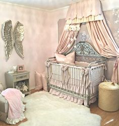 Vintage Glam Nursery with Pink and Metallic Decor  roombox inspiration #miniaturenursery