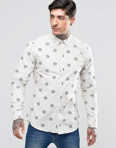 Farah | Farah Shirt With Repeat Circle Print In Slim Fit White