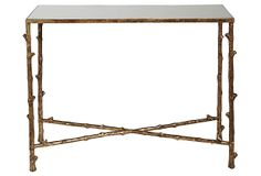 """Bamboo Console - This striking glass console table features bamboo-style aluminum legs with metallic gold leafing. 15""""W x 38.5""""L x 19""""H - $399"""