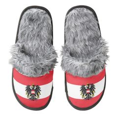 Austrian flag slippers pair of fuzzy slippers
