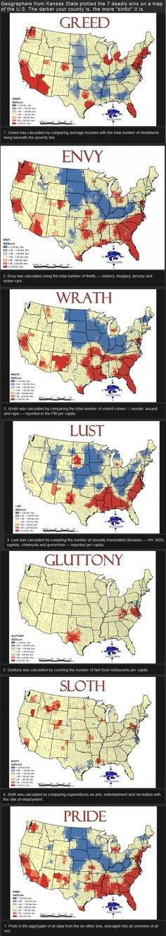 The Overview of Where Seven Deadly Sins Tend to Be Practised Most Frequently in the U.S. by Geographers from Kansas State | The Darker the county, the More Sinful it is!