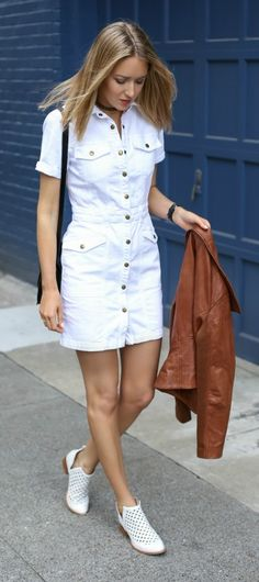 white jean mini dress, cognac leather jacket, white eyelet booties, black crossbody bag, straight hairstyle {current/elliot, bernardo, jeffery campbell, moyi moyi}
