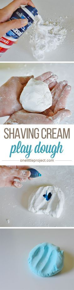 This EASY shaving cream play dough is so much fun! The texture is silky smooth and it only needs two ingredients!