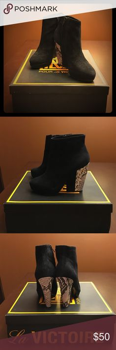 Pour La Victoire Haydn Bootie Gently used striking reptile ankle bootie in black - video available of boot: https://youtu.be/sX1zcuzWrlA Pour la Victoire Shoes Ankle Boots & Booties