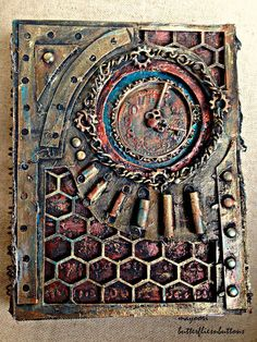 steampunk journal cover, decoart metallic colors, Creative embellishment chipboards, recycled cardboard, altered cover