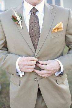 I really like the idea of having groom and his men in something other than traditional black suits. this khaki one is gorge. Fall Wedding Attire, Wedding Men, Wedding Groom, Farm Wedding, Wedding Bells, Wedding Tuxedos, Wedding Ideas, Wedding 2015, Wedding Things