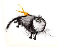Inefficient cat captured by an astute goldfish - Ronald Searle