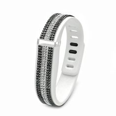 7c25f26e9 Fitbit Flex White Replacement Band with Crystal and Jet Hematite Swarovski  Elements - Sheer Elegance Collection