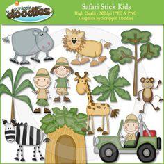 Safari Stick Kids Download - $3.50 : Scrappin Doodles, Creative Clip Art, Websets & More