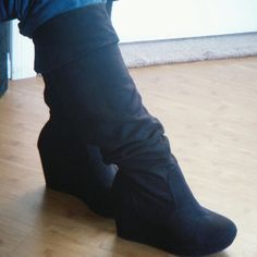 Wedge boots Black knee high boots with a wedge foldover cuff on top of boot  for fashionable look. Shoes Over the Knee Boots 7ebcbc48a23b9